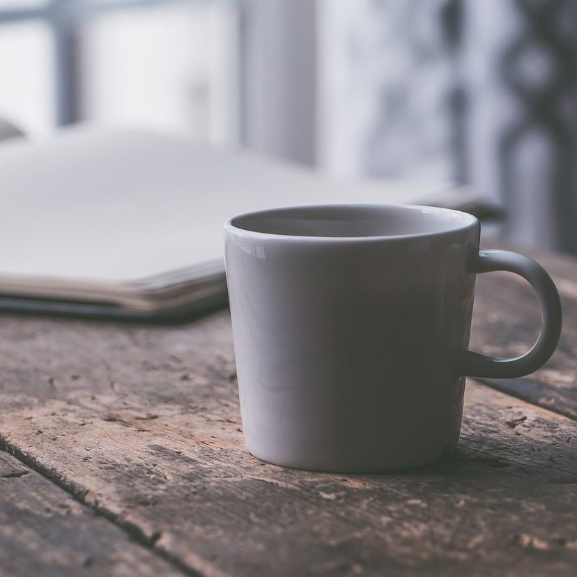 Picture of a coffee mug on a desk