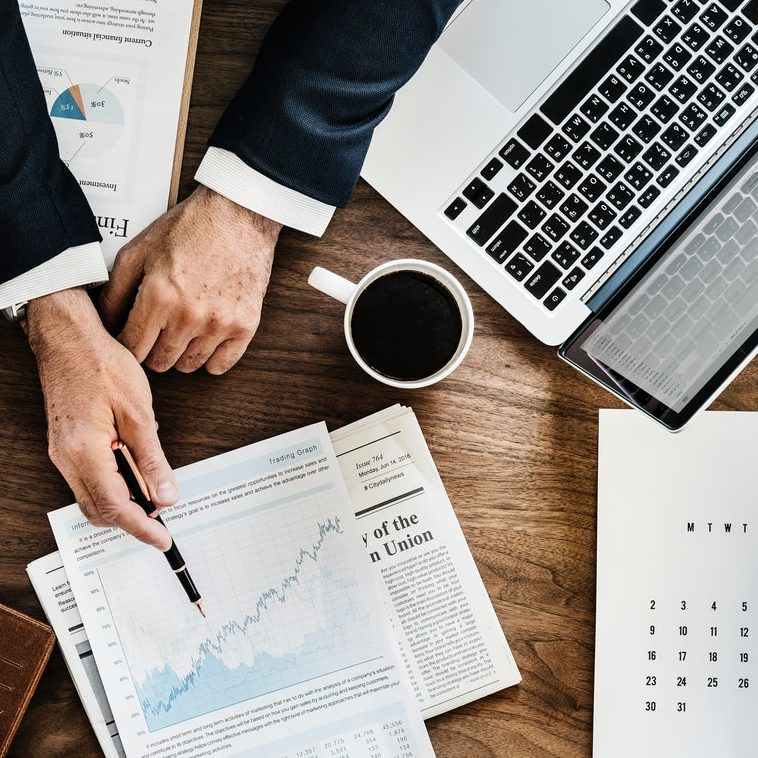 Picture of a person review financial charts