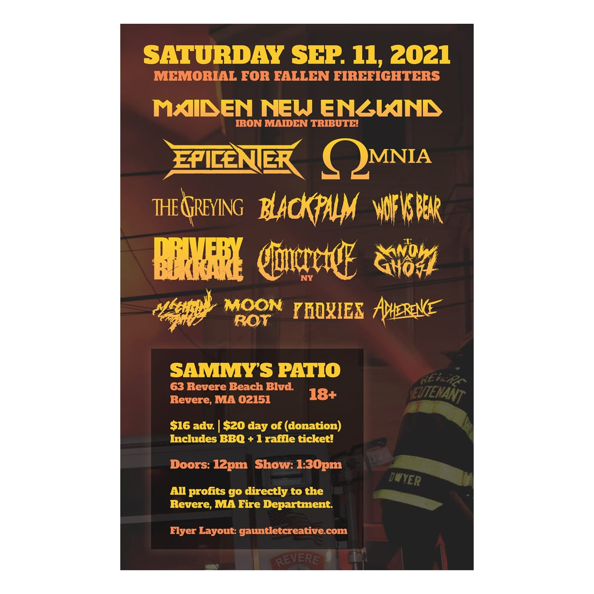 Sammy's Patio Fallen Firefighter Memorial Show Maiden New England Drive-By Bukkake Epicenter Sammy's Patio September 11 2021